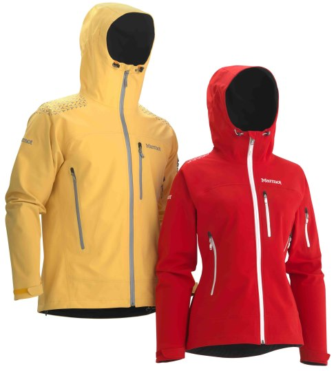 Marmot zion soft, softshell, shell jacket - yellow, red, polartec neoshell
