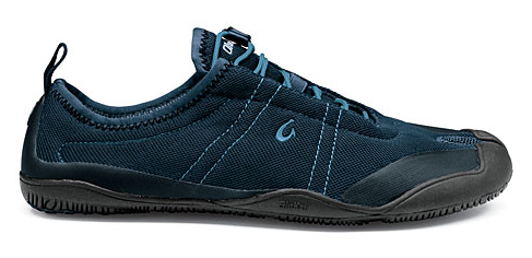 Olukai Maliko split toe minimalist shoe blue side view