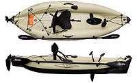 Hobie Mirage Kayak i9s inflatable pedal pequin flippers Mirage Drive top side view