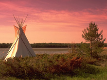 Manitoulin Island, water front at dusk with tee pee tent