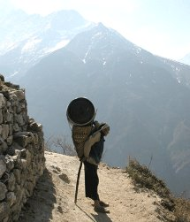 Sherpa carrying heavy load